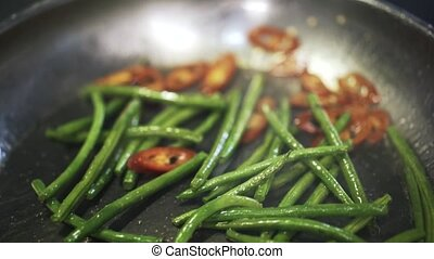 Green asparagus and hot pepper fried and stirred