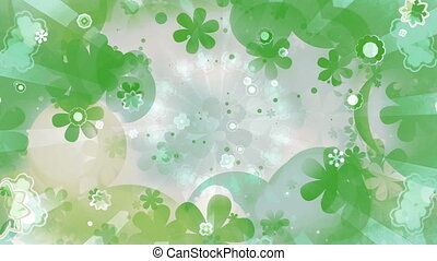 Retro blue green and white pale colors flowers and shapes...