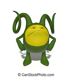 Arrogant green monster - 3d image. The funniest character on...