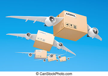 Air mail delivery concept. Parcels with wings flying in the...