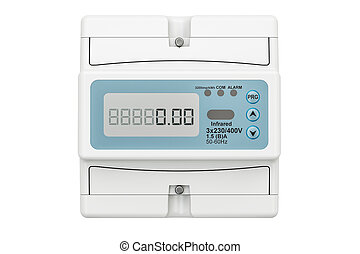 Modern electric meter, 3D rendering isolated on white...