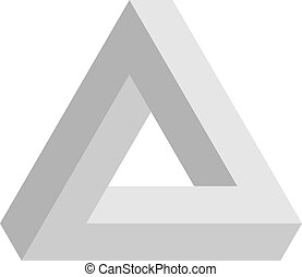 Penrose triangle icon in grey. Geometric 3D object optical illusion. Vector illustration