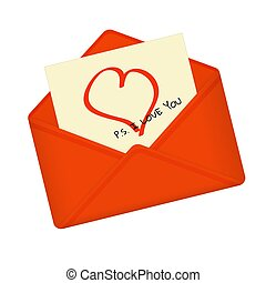 Letter in open red envelope