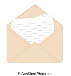 Letter in open beige envelope