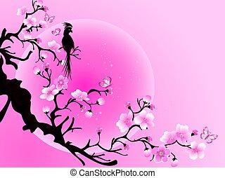 Cherry blossom tree with bird. Japanese Vector art