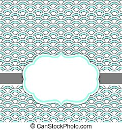 Vector Card Template with a Frame on Waves Background with Space for Your Text.