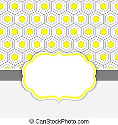 Vector Card Template with a Frame on  Honeycomb Background with Space for Your Text.