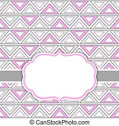 Vector Card Template with a Frame on  Tribal Style Background with Space for Your Text.