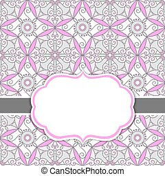 Vector Card Template with a Frame on  Ornamental Background with Space for Your Text.