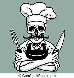 Dead Skull Chef Grinning with Fork, Knive, and Hat. Vector...