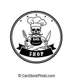 Dead Skull Chef Grinning with Fork, Knive, and Hat....