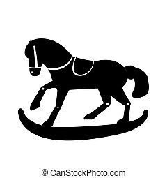 Wooden horse toy silhouette - Isolated silhouette of a...