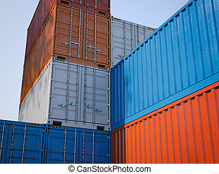 Different shipping containers.3d rendering