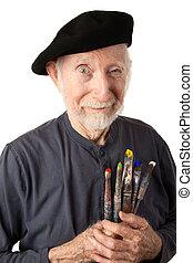 Senior artist with beret and brushes - Eccentric senior...