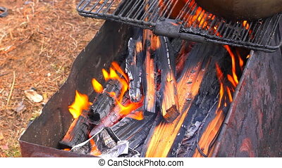 HD Closeup of burning wood in the barbecue