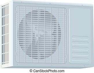 White modern external air conditioner compressor