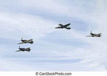 Spitfires in flight
