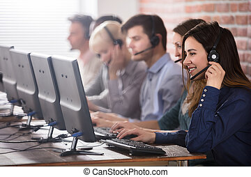 Female Customer Services Agent In Call Center - Positive...