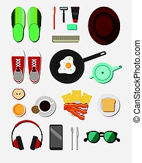 Flat Daily Life Icons Collection