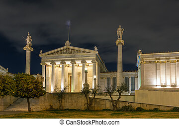 Night view of Academy of Athens, Attica, Greece
