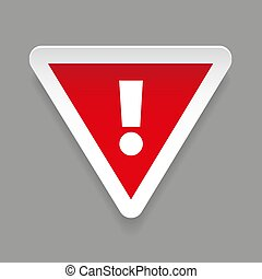 Exclamation mark warning sticker vector