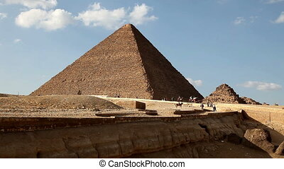 Great Pyramid in Giza Egypt with Tourists in Background