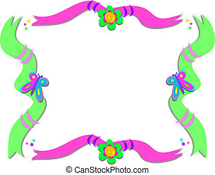 Frame of Ribbons, Flowers, and Butt
