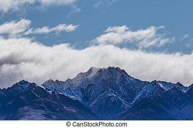 blue sky white cloud and peak of snowcapped mountain at lake...