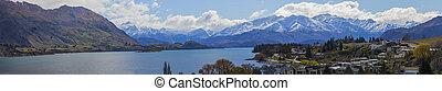 panorama view of wanaka lake town most popular natural...