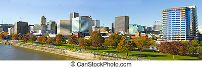 Portland Oregon Downtown Skyline along Waterfront Park by...