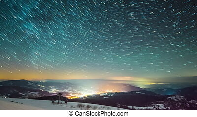 Milky way time lapse in Carpathian Mountains