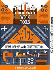 Vector house repair work tools poster - Home repair and...