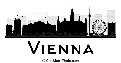 Vienna City skyline black and white silhouette.