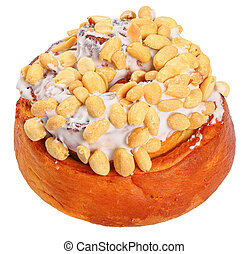 cinnamon roll with peanuts isolated on white