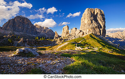 Cinque Torri mountain peak at sunset, Belluno,Dolomites...