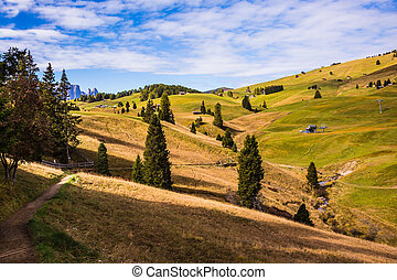 The natural Alps di Siusi - The natural landscape of the...