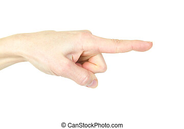 Forefinger. Human gesture. Isolated over white background,...