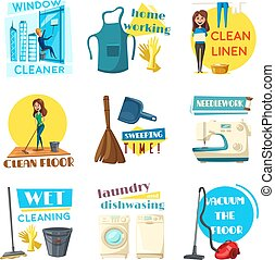 House or room cleaning vector flat desing - Home cleaning...