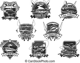Vector icons set for fishing or fisher sport club - Fishing...