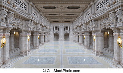 Entrance hall - 3D CG rendering of the entrance hall.