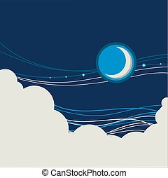 Night sky poster background with half moon and clouds for...