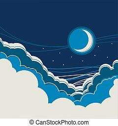 Night sky background with half moon and clouds for text or...