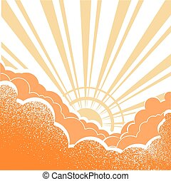 Sunrise with beautifull clouds.Vector yellow illustration