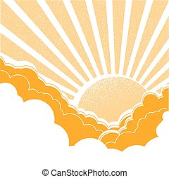 Sun with clouds.Vector nature yellow background
