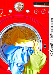 washer - Red washer machine with linen