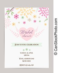Bridal shower invitation template. Simple design with...