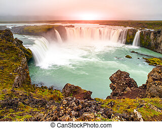 Godafoss waterfall at sunset time, northern Iceland