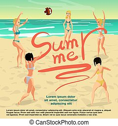 Summer vacation concept background with space for text. Women in bikini play beach volleyball standing in a circle. Flat cartoon vector illustration