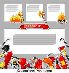 Background with firefighting sticker items. Fire protection...