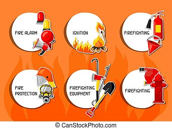 Stickers with firefighting items. Fire protection equipment.